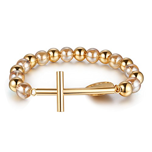 2-Tone (Yellow Gold/Crystal) Beads and Cross Sideway & Saint Maria Charm Bracelet 7.5