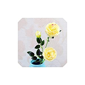 Smileshop01 Western Rose core 3 Head Peony Artificial Flowers Home Decoration Wedding Wall Christmas Decoration Fake Flower 1pc,J 23
