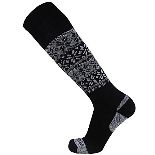 Pure Athlete Alpaca Ski Socks - Warm Wool Ski Sock for Men and Women - Skiing, Snowboarding, Cold Weather, Winter - Made in USA (S, Black)