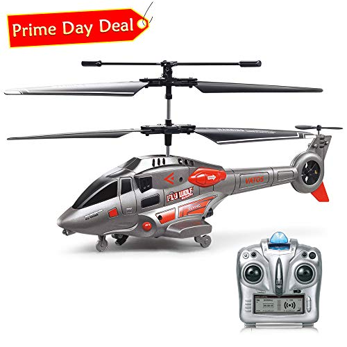 RC Helicopter, VATOS Remote Control Helicopter with Gyro and LED Light 3.5HZ Channel Alloy Mini Military Series Helicopter for Kids & Adult Indoor Outdoor Micro RC Helicopter Toy Gift for Boys Girls