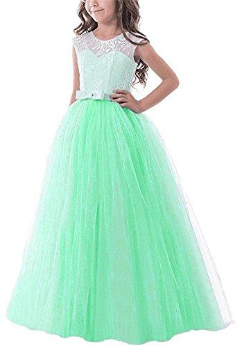Maxi Long Floor Length Elegant Flower Girls Dresses For Wedding Birthday Pageant Prom Party Dresses Sleeveless Girl Dress Ball Gowns Lace Formal Sundresses Size 7-16 (Mint Green, 160)