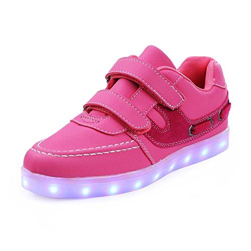 ca7766dc813b70 SAGUARO® Mädchen Jungen Leuchtschuhe 7 Farben Kinderschuhe USB Aufladen LED  Schuhe Leuchtende Blinkschuhe Licht Turnschuhe
