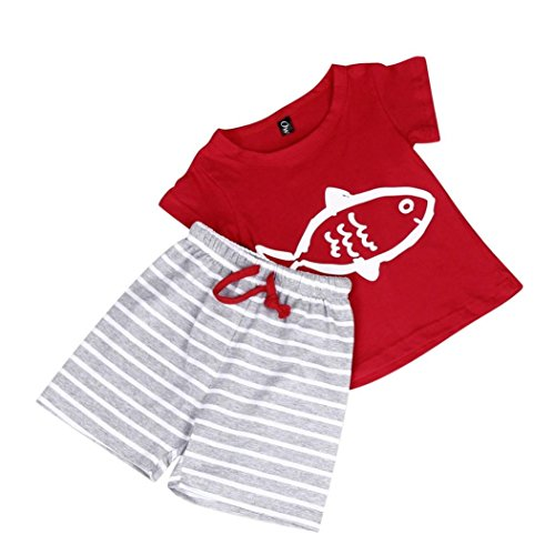IEason Baby Clothes Kids Boys Printing Short Sleeve T-Shirt Stripes Pants Set Clothing (4T(3-4Years), Red)