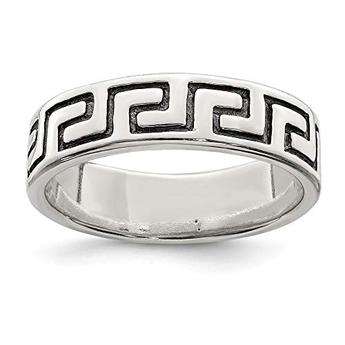 (925 Sterling Silver Greek Key Band Ring Size 9.00 Fine Jewelry Gifts For Women For Her)