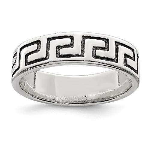 (925 Sterling Silver Antiqued Greek Key Ring)