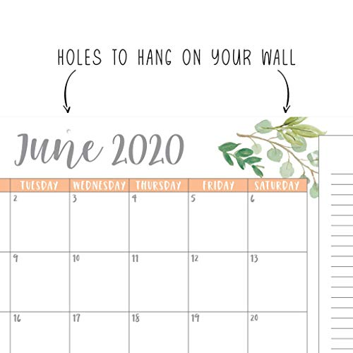 Greenery 2019 2020 Large Monthly Desk Or Wall Calendar Planner Big