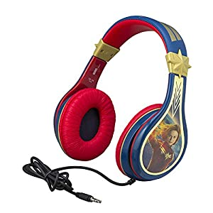 eKids Captain Marvel Kids Headphones, Adjustable Headband, Stereo Sound, 3.5Mm Jack, Wired Headphones for Kids, Tangle-Free, Volume Control, Childrens Headphones Over Ear for School Home, Travel
