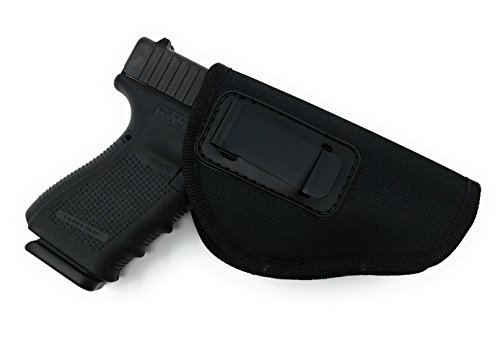 Nylon Gun Holster 4 Positions Inside & Outside by Houston | Fits: Glock, Ruger, Springfield, Sig, S&W, Taurus, H&K | Multi Fit | Linen Inside (Large)