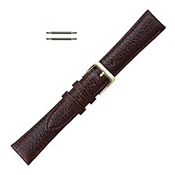 22mm Brown Leather Polished Calf Watchband Replacement