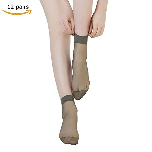 CHARHODEN 12 Pairs Womens Ankle High Sheer Cored Wire Socks Grey