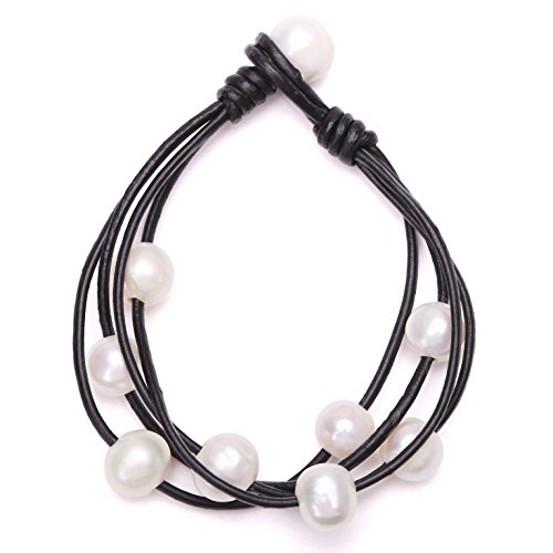 Pearl Shape Freshwater Bracelet (Ao Bei Leather Freshwater Cultured Pearls Wraps Bracelet Handmade Beaded Strands Jewelry on Genuine Leather Cord for Women-Black Leather&White Pearl)