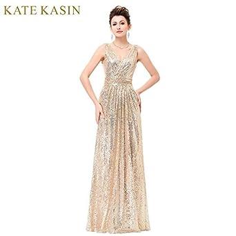 bcc4294f2e Luxe Or Argent Longue Sequin Robe de Soirée Rose Double V Cou Pas Cher Robes  De