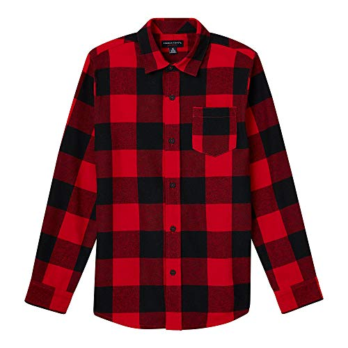 (French Toast Boys' Big Long Sleeve Flannel Shirt, Bright red,)