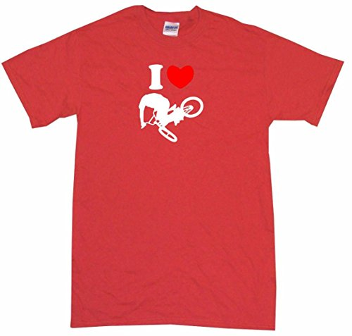 Carbon Snap Fiber Heart (I Heart Love BMX Jumping Guy Logo Men's Tee Shirt 2XL-Red)