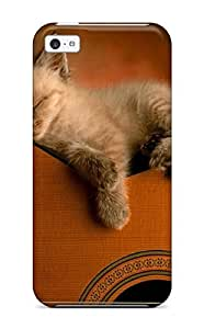 Iphone 5c Kitten On Guitar Print High Quality Tpu Gel Frame Case Cover