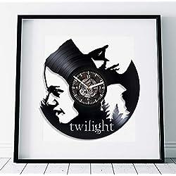 Kovides Bella and Edward Art Twilight Art Film Clock Birthday Gift for Girl Wall Clock Large Twilight Lp Retro Vinyl Record Wall Clock Modern Twilight Gift Handmade Gift Movie Art Wall Clock Vintage