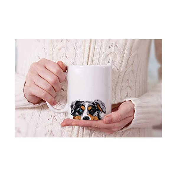 MUGBREW Merle Aussie Australian Shepherd Dog Ceramic Coffee Gift Mug Tea Cup, 11 OZ 7