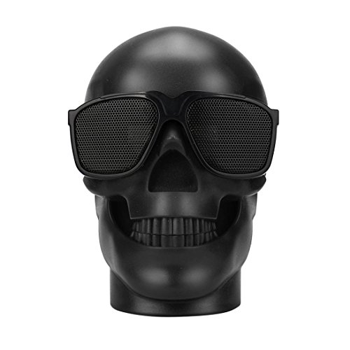 GBSELL Fashion Glasses Skull Portable Super Bass Mini Bluetooth Wireless Speaker (Black)