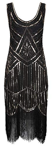 Ro Rox Great Gatsby 1920's Cocktail Party Sequin Tassel Flapper Dress - Black & Gold (S) -