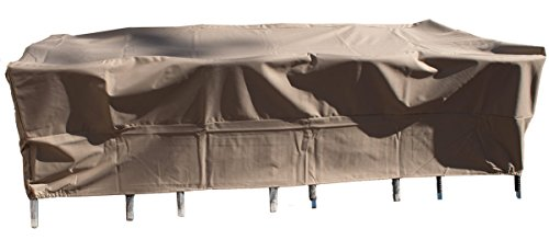 Outdoor Dining Patio Furniture Cover Rectangle All Weather Protection Fits Up To 99-Inches Long Table Sets. Heavy Duty 3-Layer-Thick Rain Proof Outdoor Dining Cover Measures 99 x 59 x 31.5 Inches by DOLA