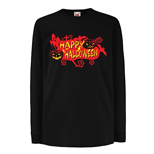 T-Shirt for Kids Owls, Bats, Ghosts, Pumpkins - Halloween Outfit Full of Spookiness (3-4 Years Black Multi Color)]()