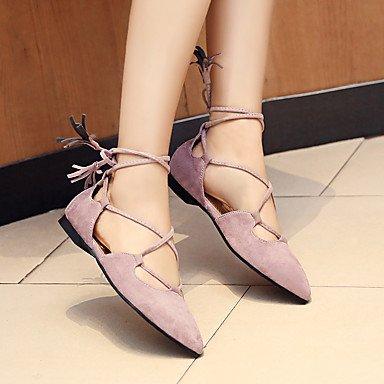Cómodo y elegante soporte de zapatos de las mujeres pisos primavera verano otoño otros sintética de goma Casual cordones tacón bajo negro amarillo morado morado
