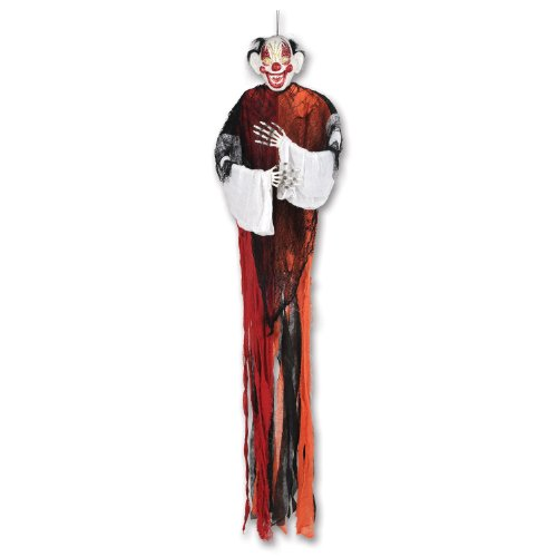 [Beistle Glittered Crazy Clown Creepy Creature, 5-Feet 1-Inch] (Spooky Clown Costumes)