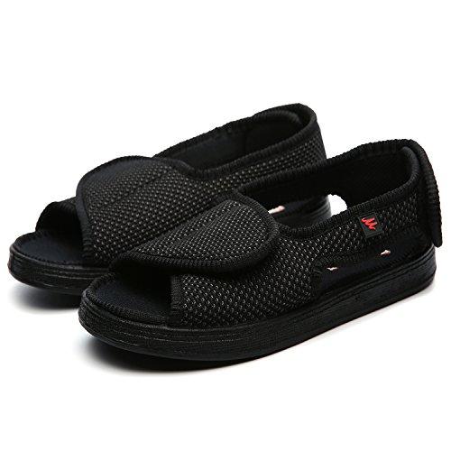 Sufoen 介護シューズ サンダル 女性 男性用 オープン リハビリシューズ メッシュ ケアシューズ スリッポン 室内 外出 ウォーキングシューズ 柔らかく 歩きやすい 通気性 痛くない 靴幅自分で調整できます