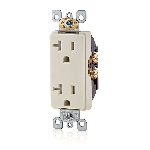 Leviton T5825-T Decora Straight Blade Tamper Resistant Duplex Receptacle, 125 V, 20 A, 2 Pole, 3 Wire, Light, - Commercial Outlet