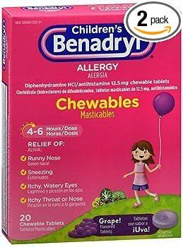 Benadryl Children's Allergy Chewable Tablets Grape Flavored - 20 ct, ...