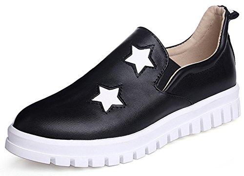 Idifu Kvinna Avslappnad Dra På Låga Topp Låg Kilklack Rund Tå Mode Sneakers Svart