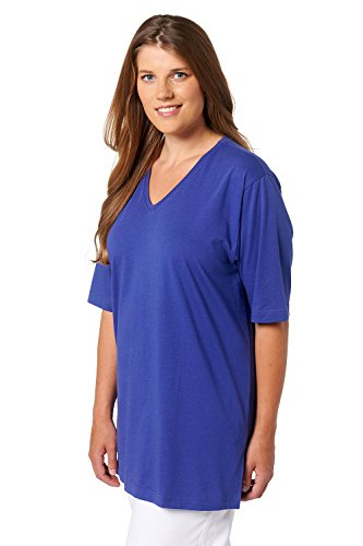 Ulla Popken Damen große Größen | T-Shirt, Basic | Regular, Relaxed Fit | V-Ausschnitt, Halbarm, uni | REINE Baumwolle | bis Größe 66/68 | saphirblau 50/52 515283 75-50+