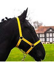 Halster voor paard, warmbloed, volbloed, koudbloed – stalhouder, weidehouder, 2-voudig verstelbaar aan kinriem en nekstuk, veilig & scheurvast (geel, koudblod)