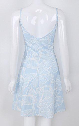 Playa Vestidos de con Verano Casual Mini Sexy Cóctel Azul Deslizamiento Vestido Claro Corto Impresión Mujer Botón Rangeyes Cuello Partido V Vestido Backless de v0xnwTAw