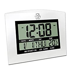 Decorative Wall Clock, HeQiao Silent Digital LCD Desk Shelf Clocks Battery Operated Large Calendar Date Day Alarm Clock for Seniors Home Office (12 Inch, Temperature Display) (Silver W/ Black)