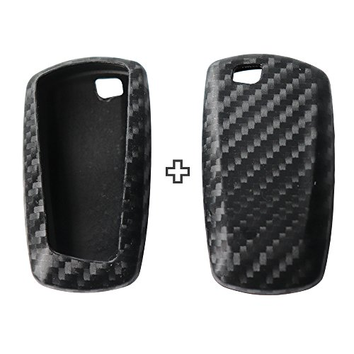 2Pack Silicone Carbon Fiber Pattern car Key case Cover Keychain for Smart BMW 1 3 5 6 7 Series X1 X3 X4 X5 X6 E87 F20 E90 E92 E93 F30 F35 F34 F31 3GT 5GT Accessories fob Shell Key Bag