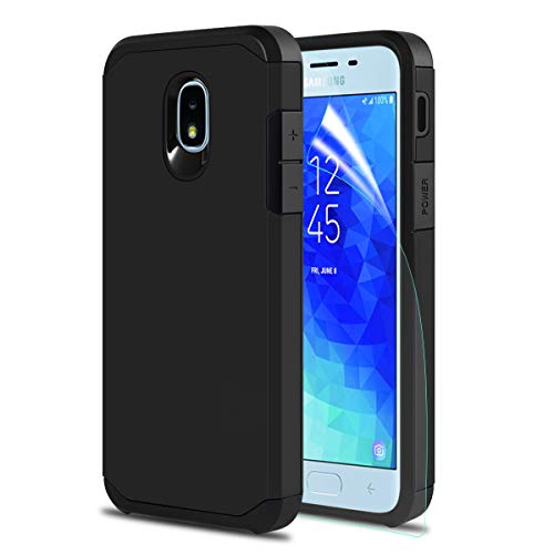 Samsung Galaxy J3 2018/J3 Achieve/J3V J3 V 3rd Gen/J3 Star/Amp Prime 3/Express Prime 3/Sol 3 Phone Case, OEAGO Hybrid Shockproof Drop Protection Heavy Duty Dual Layer Case Armor Cover - Black