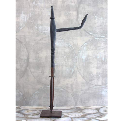 tique Cambodian Rice Planter Iron Wood Sculpture | Asian Oriental Vintage ()