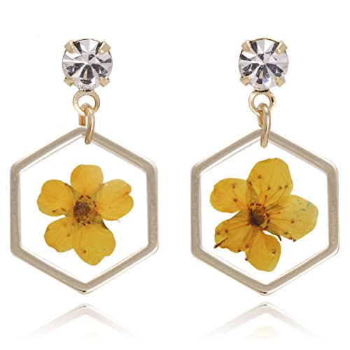 BONALUNA Pressed Flower Yellow Gold Plated Hexagon Dangle With Cubic Zirconia Titanium Post Back Earrings