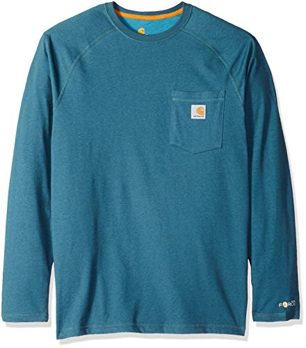 Carhartt Men's Force Cotton Delmont Long Sleeve T Shirt, Dark Slate Heather, Medium -