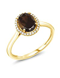 1.20 Ct Oval Brown Smoky Quartz 10K Yellow Gold Diamond Ring (Available in size 5,6,7,8,9)