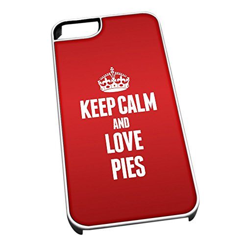 Bianco cover per iPhone 5/5S 1390 Red Keep Calm and Love pies