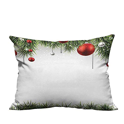 (alsohome Sofa Waist Cushion Cover Classical Christmas Ornaments and Baubles on Pine Tree Twig Tinsel Picture Prin Ideal decoration13.5x19 inch(Double-Sided Printing))