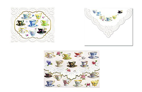Carol Wilson Fine Arts Inc., Tea Room Note Card 4 Design Pack - 24 Portfolio Boxes with 10 Note Cards Each- ncppack5x6 by For Arts Sake Cards and Gift