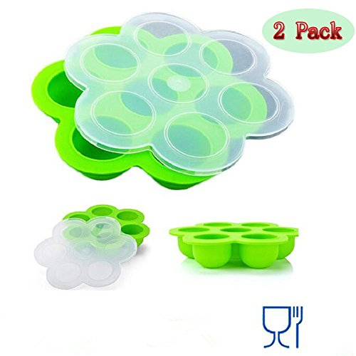 Athena Serving Tray - (Set of 2)Silicone Ice Cube Trays & Food Storage Trays with Clip-On Lid, 7Cavities Food Storage Conatiners, Reusable Storage Container and Baby Food container