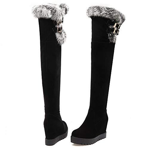 Boots The Over Taoffen Wedge Black Knee Women Heel qxZwRwXOt