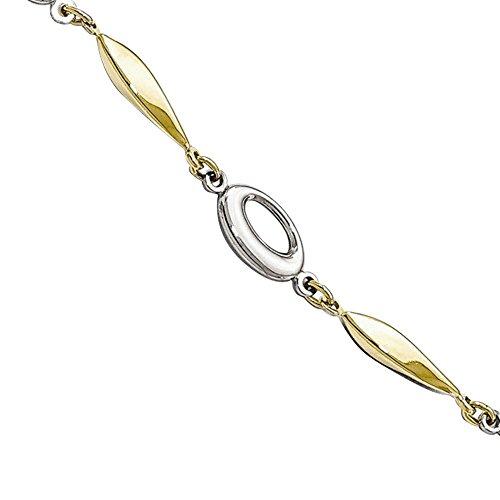 Two Bracelet Tone 10k Gold (Leslies 10K Two-Tone Gold Fancy Link Bracelet, 7.50