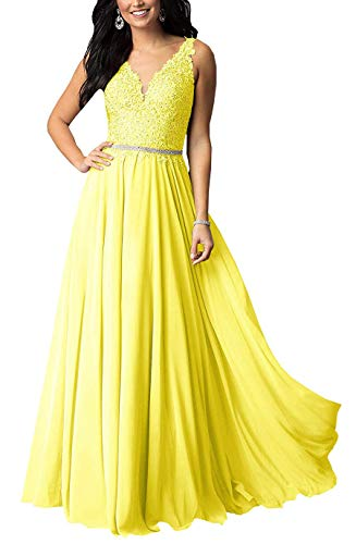 1039fa8d4b Staypretty V Neck Bridesmaid Dresses Chiffon Applique Beaded Long Formal  Evening Gown for Women Yellow 10