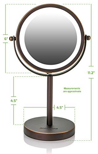 Ovente Lighted Tabletop Makeup Mirror, 6 Inch, Dual-Sided 1x/7x Magnification, Cordless, Operated, Cool-Tone LED Lights, Antique Bronze (MLT60BZ1X7X) by Ovente (Image #1)