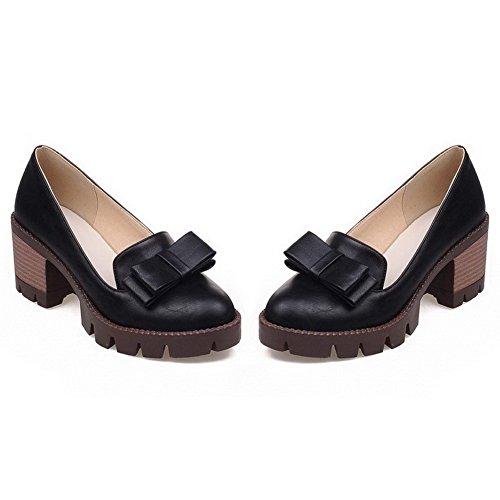 VogueZone009 Damen Ziehen auf PU Leder Rund Zehe Mittler Absatz Rein Pumps Schuhe Schwarz
